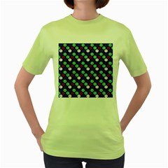 Eye Dots Green Blue Red Women s Green T Shirt