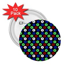 Eye Dots Green Blue Red 2 25  Buttons (10 Pack)