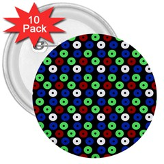 Eye Dots Green Blue Red 3  Buttons (10 Pack)