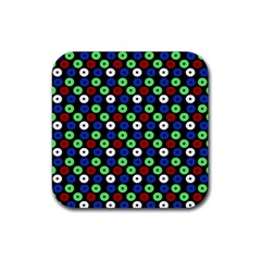 Eye Dots Green Blue Red Rubber Square Coaster (4 Pack)