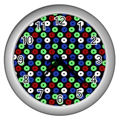 Eye Dots Green Blue Red Wall Clocks (silver)