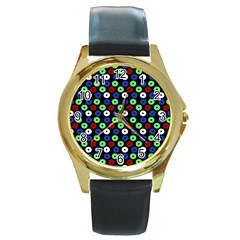 Eye Dots Green Blue Red Round Gold Metal Watch