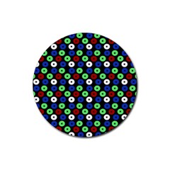 Eye Dots Green Blue Red Rubber Round Coaster (4 Pack)