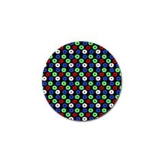 Eye Dots Green Blue Red Golf Ball Marker (4 Pack)