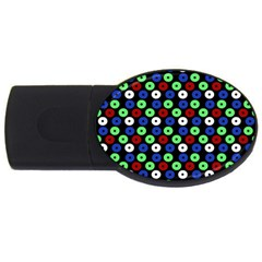 Eye Dots Green Blue Red Usb Flash Drive Oval (2 Gb)