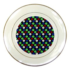 Eye Dots Green Blue Red Porcelain Plates