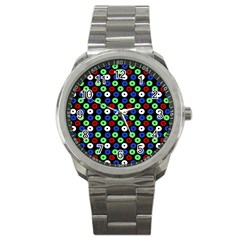 Eye Dots Green Blue Red Sport Metal Watch