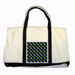 Eye Dots Green Blue Red Two Tone Tote Bag