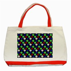 Eye Dots Green Blue Red Classic Tote Bag (red)