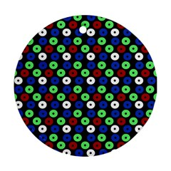 Eye Dots Green Blue Red Round Ornament (two Sides)