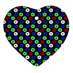 Eye Dots Green Blue Red Heart Ornament (two Sides)