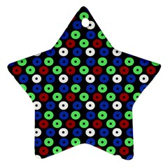 Eye Dots Green Blue Red Star Ornament (two Sides)