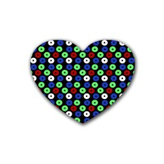 Eye Dots Green Blue Red Rubber Coaster (heart)