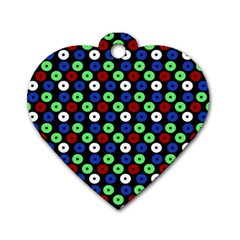 Eye Dots Green Blue Red Dog Tag Heart (two Sides)