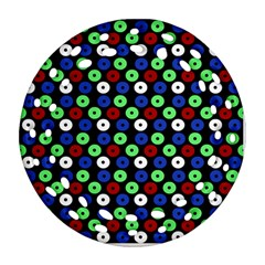 Eye Dots Green Blue Red Ornament (round Filigree)