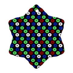 Eye Dots Green Blue Red Snowflake Ornament (two Sides)