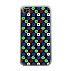 Eye Dots Green Blue Red Apple Iphone 4 Case (clear)