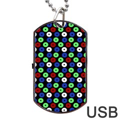 Eye Dots Green Blue Red Dog Tag Usb Flash (two Sides)