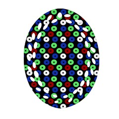 Eye Dots Green Blue Red Oval Filigree Ornament (two Sides)