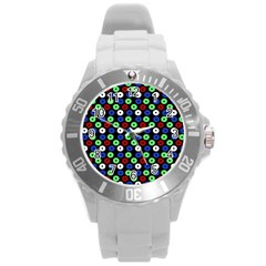 Eye Dots Green Blue Red Round Plastic Sport Watch (l)