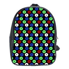 Eye Dots Green Blue Red School Bag (xl)