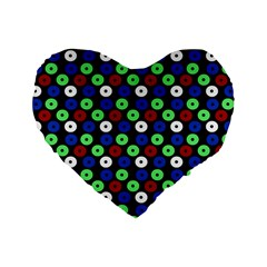 Eye Dots Green Blue Red Standard 16  Premium Heart Shape Cushions