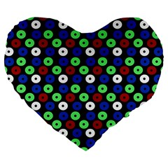 Eye Dots Green Blue Red Large 19  Premium Heart Shape Cushions