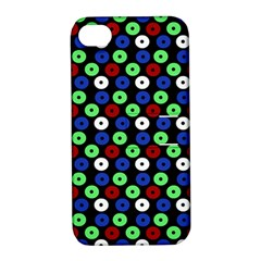 Eye Dots Green Blue Red Apple Iphone 4/4s Hardshell Case With Stand