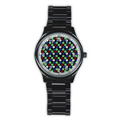 Eye Dots Green Blue Red Stainless Steel Round Watch