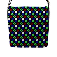 Eye Dots Green Blue Red Flap Messenger Bag (l)