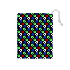 Eye Dots Green Blue Red Drawstring Pouches (medium)