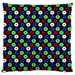 Eye Dots Green Blue Red Large Flano Cushion Case (two Sides)