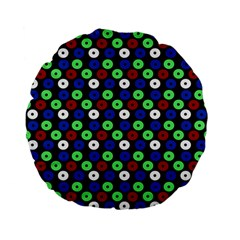 Eye Dots Green Blue Red Standard 15  Premium Flano Round Cushions