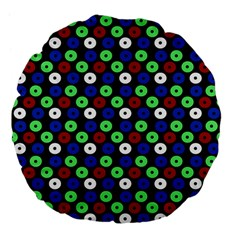 Eye Dots Green Blue Red Large 18  Premium Flano Round Cushions