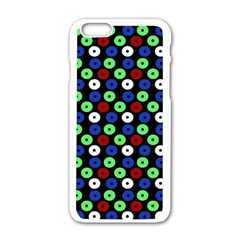 Eye Dots Green Blue Red Apple Iphone 6/6s White Enamel Case