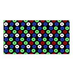 Eye Dots Green Blue Red Satin Shawl