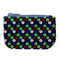 Eye Dots Green Blue Red Large Coin Purse