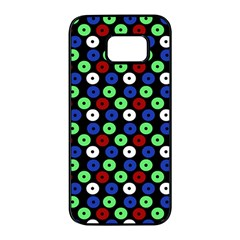 Eye Dots Green Blue Red Samsung Galaxy S7 Edge Black Seamless Case