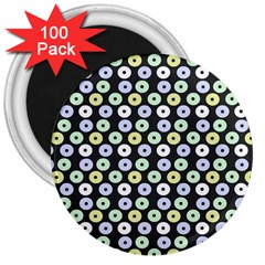 Eye Dots Grey Pastel 3  Magnets (100 Pack)