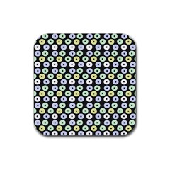 Eye Dots Grey Pastel Rubber Square Coaster (4 Pack)