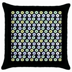 Eye Dots Grey Pastel Throw Pillow Case (black)