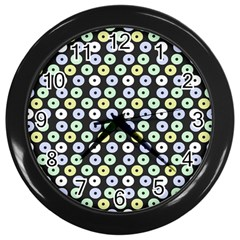 Eye Dots Grey Pastel Wall Clocks (black)