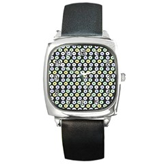 Eye Dots Grey Pastel Square Metal Watch