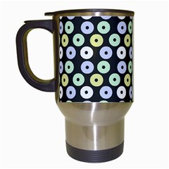 Eye Dots Grey Pastel Travel Mugs (white)