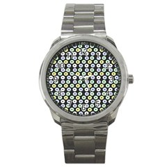 Eye Dots Grey Pastel Sport Metal Watch