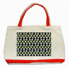 Eye Dots Grey Pastel Classic Tote Bag (red)