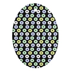 Eye Dots Grey Pastel Oval Ornament (two Sides)