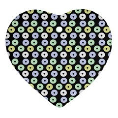 Eye Dots Grey Pastel Heart Ornament (two Sides)