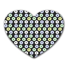 Eye Dots Grey Pastel Heart Mousepads