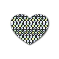 Eye Dots Grey Pastel Rubber Coaster (heart)